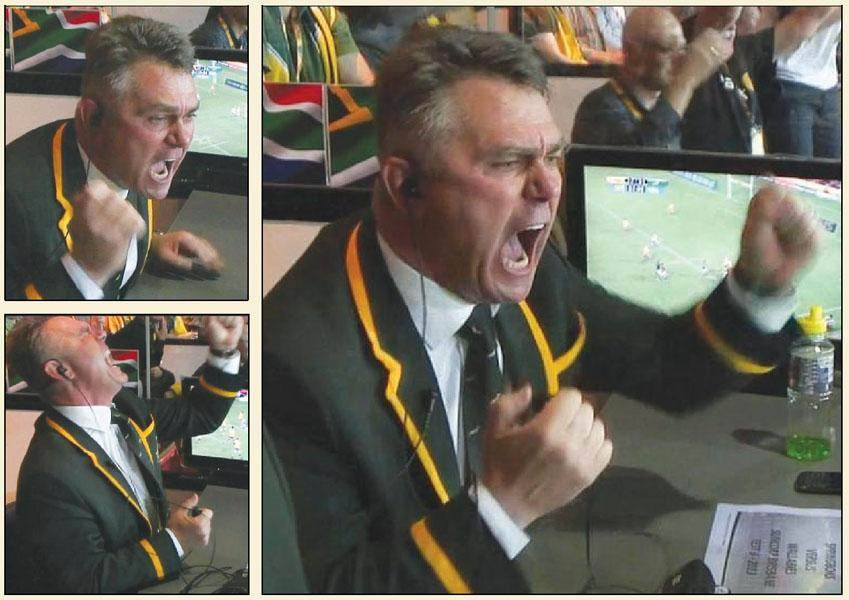 Heyneke Meyer emotional and animated in the game between Wallabies vs Springboks, The Rugby Championship, Brisbane, 7 September 2013