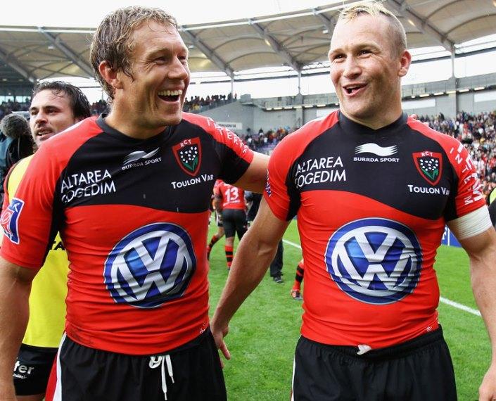 Toulon's Jonny Wilkinson & Matt Giteau celebrates