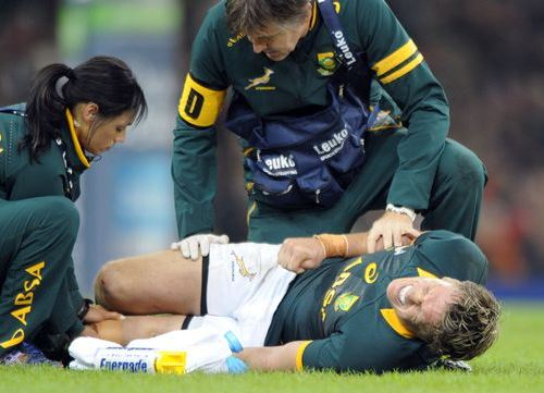 Jean de Villiers, Springbok captain, with knee dislocation injury against Wales in November 2014.