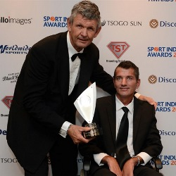 Morne du Plessis & Joost van der Westhuizen at the 2015 Sport Industry Awards