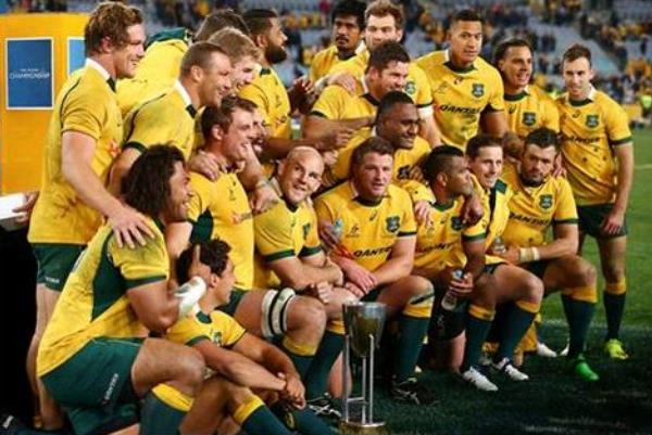 The Wallabies celebrate winning The Rugby Championship of 2015