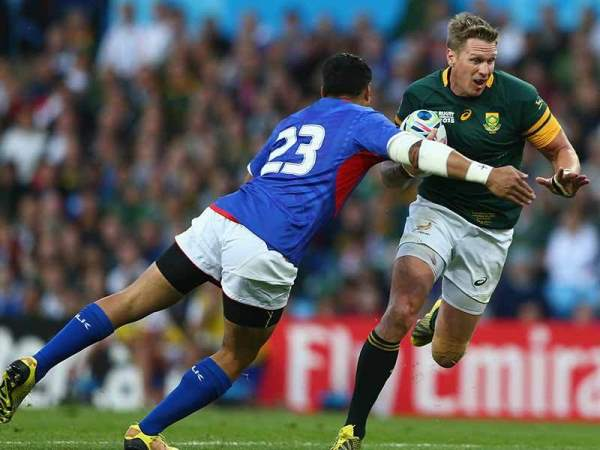 Jean de Villier in action against Samoa on Saturday 26 September 2015.