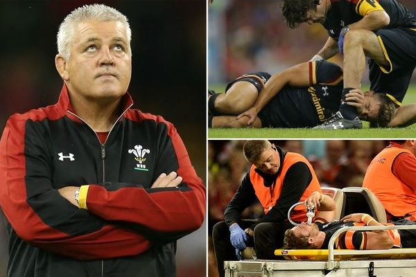 Left: Warren Gatland, Wales coach Top Right: Rhys Webb injured Bottom Right: Leigh Halfpenny stretchered off