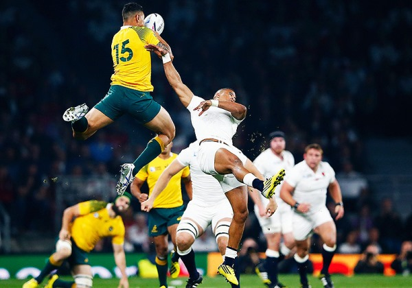 Israel Folau in the air, against England