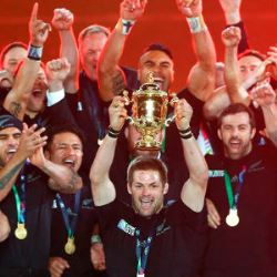 All Blacks celebrate winning