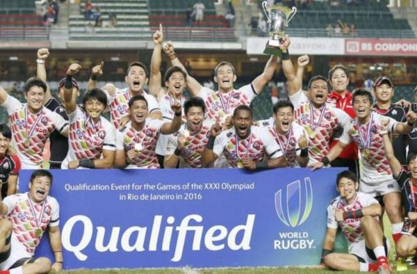 The Japanese Sevens team celebrate as they qualify for the Olympics in Rio