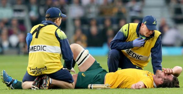 Kane Douglas down injured in the Final against the All Blacks