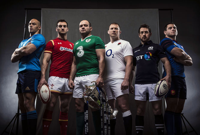 Sergio Parisse, Sam Warburton, Rory Best, Dylan Hartley, Greg Laidlaw and Guilhem Guirado (from left to right)