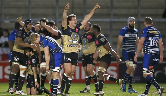 Francois Steyn celebrates Montpellier win over Sale Sharks